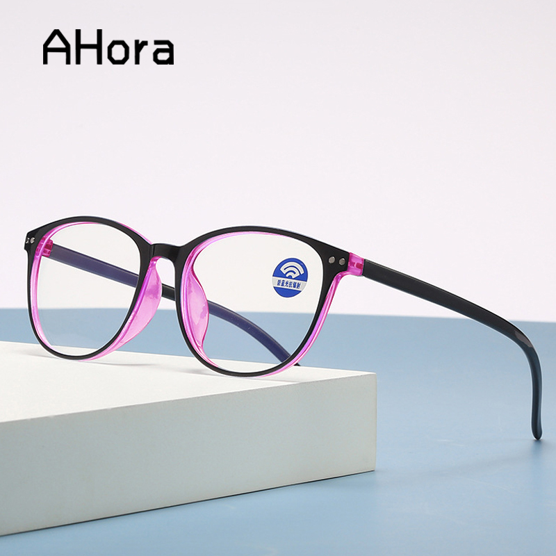 Ahora Anti Blue Light Computer Reading Glasses Women Men Ultralight Round Reading Presbyopic Glasses Diopters +1.0 1.5 2.0 2.5 3