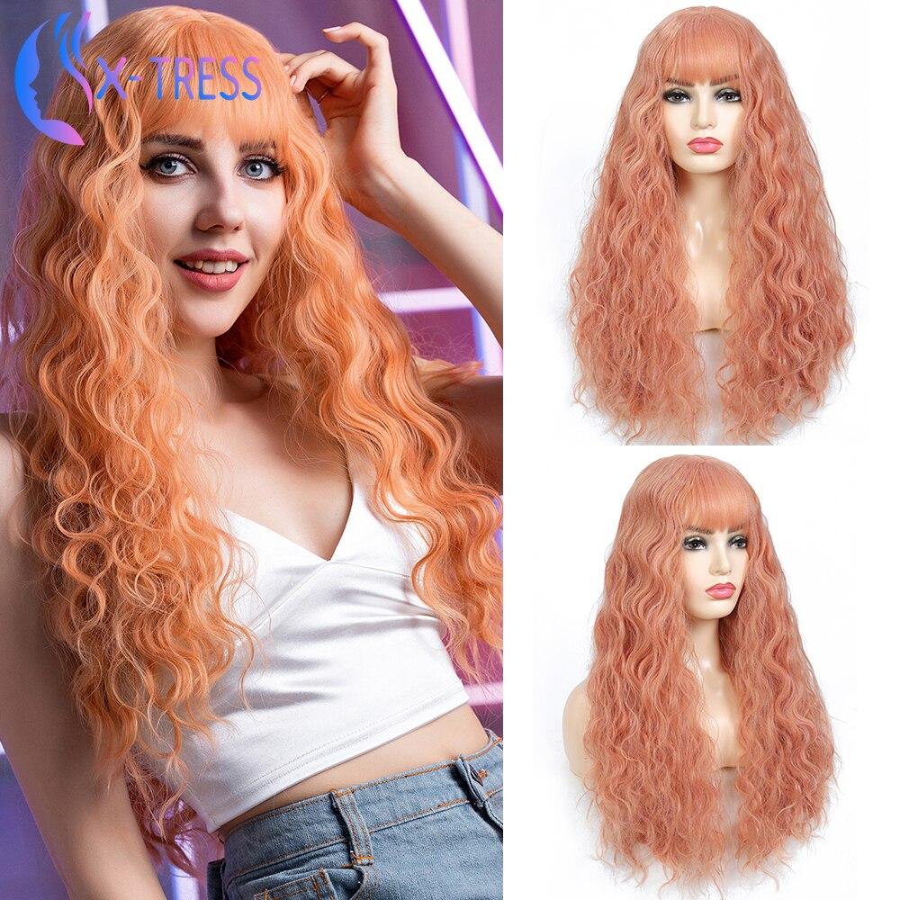 Parrucche sintetiche rosa rosa per le donne soffici lunghi capelli morbidi X-TRESS parrucca Cosplay con frangia resistente al calore uso quotidiano parrucca colorata
