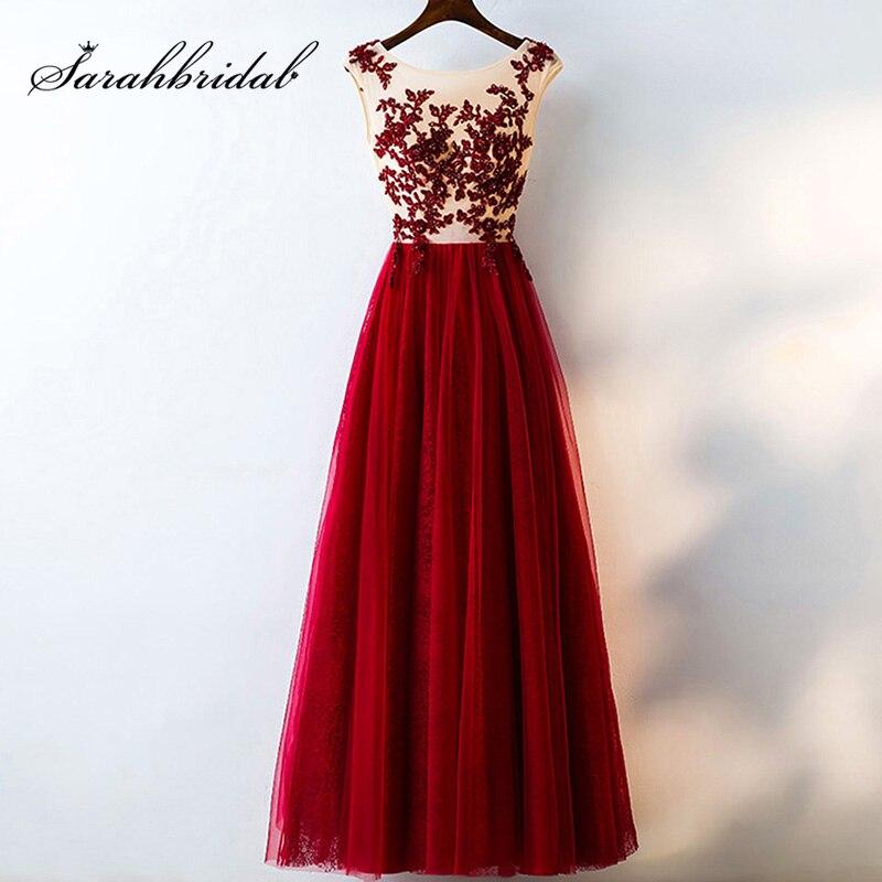 Photo réelle printemps rouge longues robes de bal dentelle paillettes Appliques Tulle Illusion femmes robe de soirée pas cher Maxi robe L3147