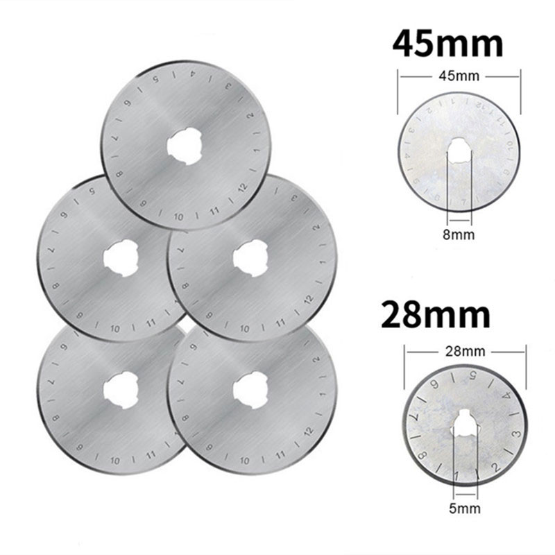 5PCS Circular Rotary Cutter Replacement Spare Safety Blades Hand Held Refill Fabric Leather Craft Steel Quilting Cutters Cutting