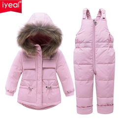 IYEAL Baby Kids Girl Clothing Sets  Russia Winter Real Fur Hooded Coat + Overalls Jumpsuit Snow Children Ski Suit 1 2 3 4 Years