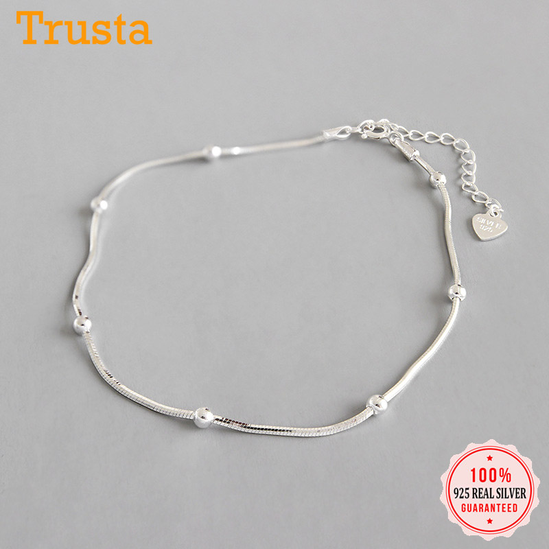 Trustdavis Genuine 925 Sterling Silver Sweet Fashion Snake Chain Bracelet Anklets For Women Sterling Silver Jewelry Gift DS2398