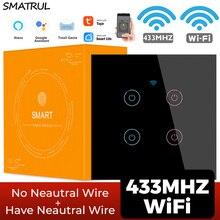 SMATRUL WiFi Touch Glass Wall Switch Light No Neutral Wire EU UK 1/2/3/4 Gang 220V Smart Life  APP Timer Tuya Google Home Alexa