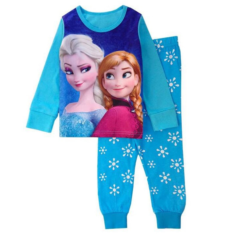 Autumn Girls Elsa Anna Clothing Sets For Girls Boys Mickey Minnie Baby Sleepwear Kids Sofia Outfits Girls Two-piece Pajamas Set