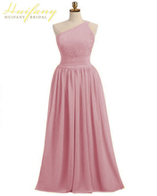 Pretty One-shoulder Backless Bridesmaid Gown Ruched Chiffon Dress for Maid of Honor Simple A-Line Long Wedding Guest