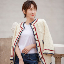 2019 New Early Autumn with Small Fragrance Breeze Tweed White Short Coat Single Breasted Full Women Coats and Jackets