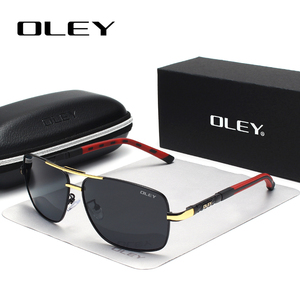 Солнцезащитные очки OLEY Мужские поляризационные, винтажные алюминиевые классические брендовые солнечные очки с линзами с покрытием, для во...
