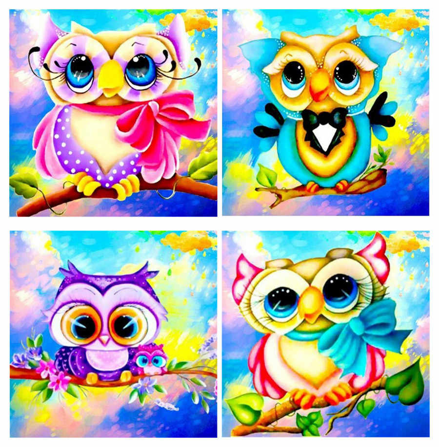 - 5D DIY Diamond Painting Colour Cartoon Owl Diamond Embroidery