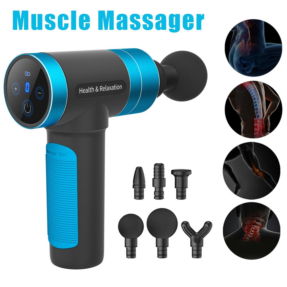6 Types Replacement Massage Head Rechargeable Muscle Massager Relaxer Electric Deep Vibration Fitness Equipment For Pain Relief