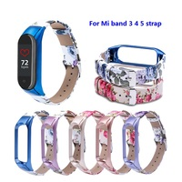 Gedruckt leder Strap Für XiaoMi Mi Band 3 6 5 4 Bunte blumen PU Leder Armband Für Mi Band 4 5 6 ersetzen armband armband