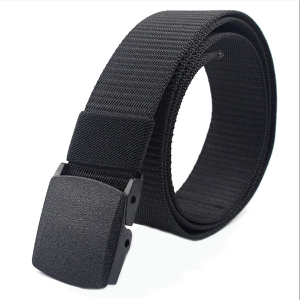 Men's Womens Plain Color Nylon canvas outdoor training Belt Plastic Buckle PD001
