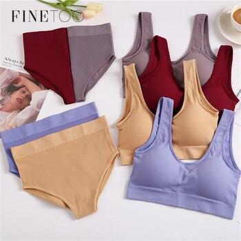 FINETOO-Conjunto de camisas sin costuras y bragas de cintura alta para mujer, ropa interior inalámbrica, conjunto de sujetadores suaves con relleno, Bralette de S-XL sin espalda, lencería