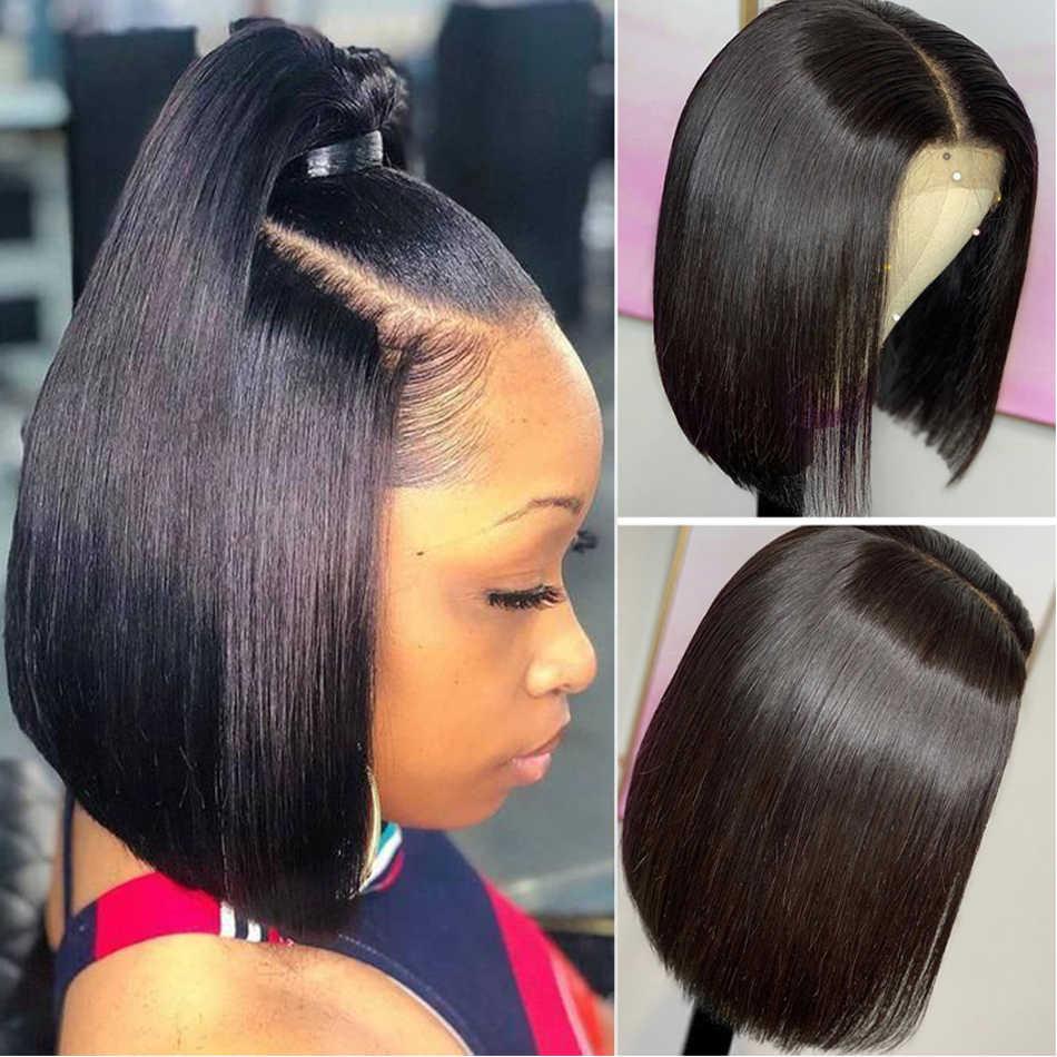 Jaycee 4*4 pelucas de cabello humano con cierre de encaje corto peluca recta con corte bob para mujeres negras Perruque 150% peluca Remy brasileña cabello humano