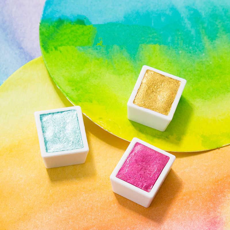 Conjunto de pinturas a acuarela metálicas, de colores sólidos, Superior a 12/24/48, pigmento de Color agua perlada portátil, suministros de arte Palett de Metal
