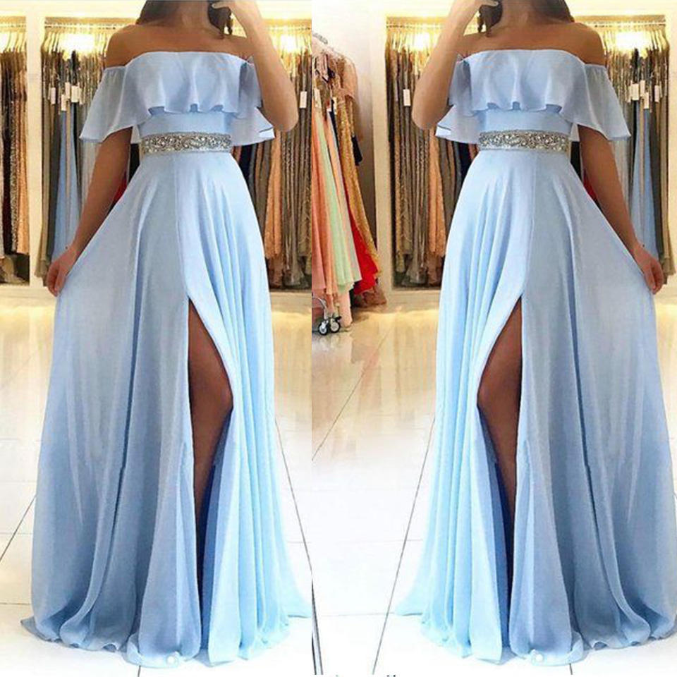 Off The Shoulder   Prom     Dresses   2019 Side Split Long   Dress   For Party Strapless Floor Length A-Line Formal Gown Vestidos De Gala