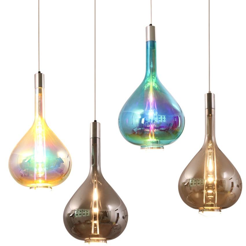 Nordic Art Designer Variopinto Ha Condotto Le Luci Del Pendente di Illuminazione Loft di Vetro Lungo La Linea Lampada a Sospensione Ristorante Deco Coperta Light Fixtures
