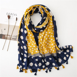 Image 1 - Yellow leopard scarf women winter vintage long blue yellow patchwork hijab scarf Pashminas Sjaal Muslim snood