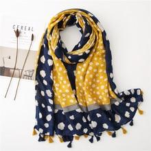Żółty lampart szalik kobiety zima vintage długi niebieski żółty patchwork hidżab szalik Pashminas Sjaal muzułmański snood