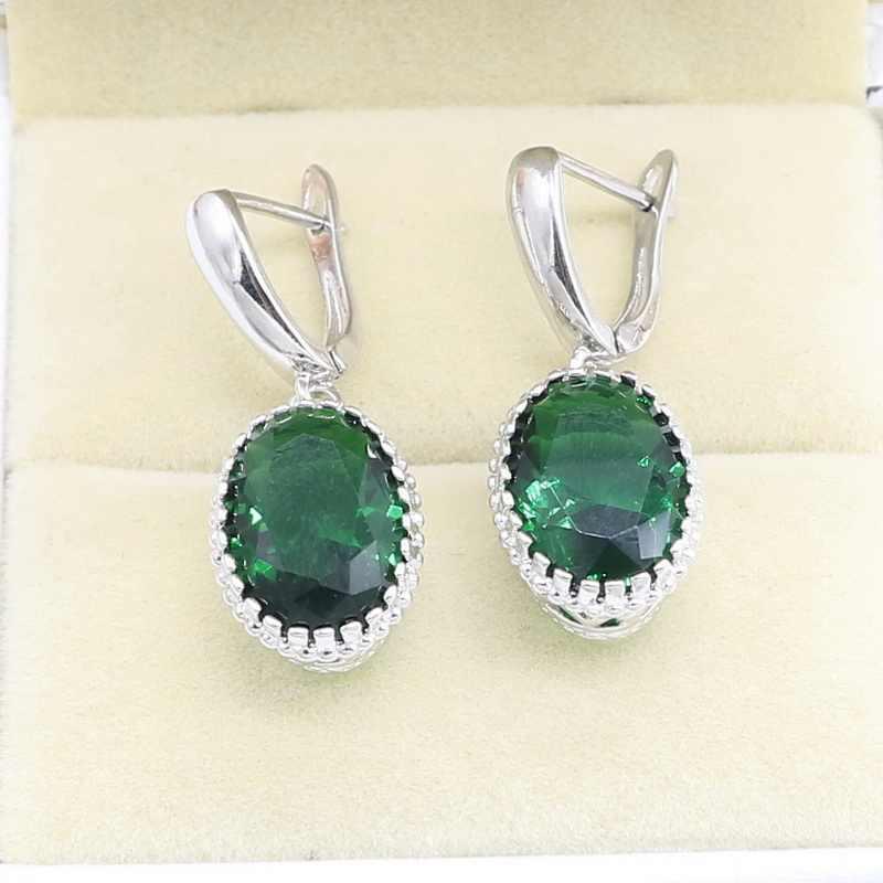 สีเขียวมรกตเงิน 925 ชุดเครื่องประดับสำหรับสตรีฟรีของขวัญแหวนสร้อยคอจี้เครื่องประดับ