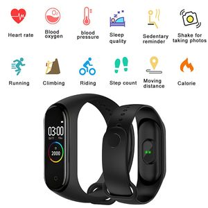 Image 2 - M4 Smart Wristband Fitness Tracker Watch Sport bracelet Heart Rate Blood Pressure Monitor Health Watch Smartband For Android iOS