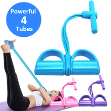 4 Tubes Multifunction Tension Rope Men Women Sit Up Pull Rope Strong Fitness Resistance Bands Latex Pedal Yoga Fitness Equipment