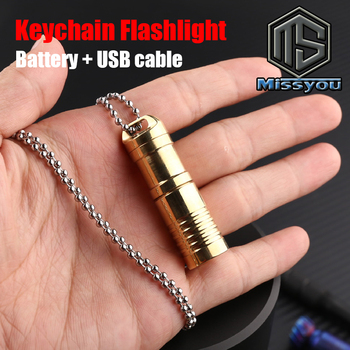 Dropshipping Brass EDC Keychain Flashlight Favor LED MINI Portable Waterproof USB Lanterna Rechargeable Small Torch Flash Light