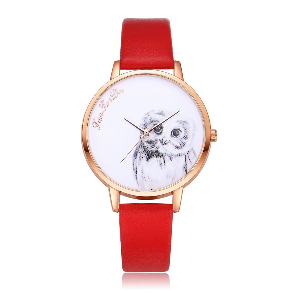 Cute Owl Pattern Round Dial Women Quartz Wristwatches Leather Strap Fashion Casual Lady Dress Watch For Dropshipping