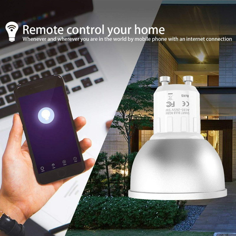 1/2/3/4pcs GU10 WiFi Smart Light Bulb 22 LED Lamp RGB Bulbs 5W Remote Adjustable Work of The Application with Alexa Google IFTTT