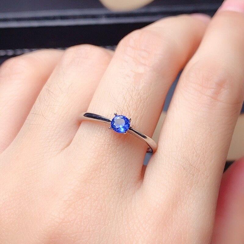 Sri Lanka Sapphire Ring for women 925soild sterling silver 3mm blue natural gemstone fine jewelry for girl anniversary gift