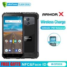 """Ulefone Armor X 방수 IP68 스마트 폰 5.5 """"HD 쿼드 코어 안드로이드 8.1 2GB + 16GB 13MP NFC 페이스 ID 5500mAh 무선 충전 전화"""