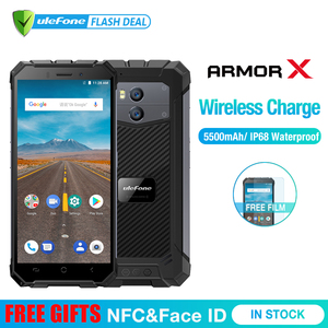 """Image 1 - Ulefone Armor X Waterproof IP68 Smartphone 5.5"""" HD Quad Core Android 8.1 2GB+16GB 13MP NFC Face ID 5500mAh Wireless Charge Phone"""