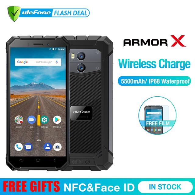 "Ulefone Armor X Waterproof IP68 Smartphone 5.5"" HD Quad Core Android 8.1 2GB+16GB 13MP NFC Face ID 5500mAh Wireless Charge Phone"