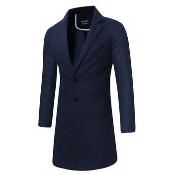Autumn And Winter Men Fashion Boutique Solid Color Slim Casual Woolen Coat / Men High-end Brand Casual Woolen Windbreaker Jacket
