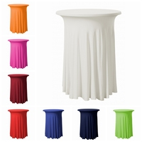 15pcs Ruffled Lycra Spandex Cocktail Table Cover Wedding Table Cloth Festival Event Decoration