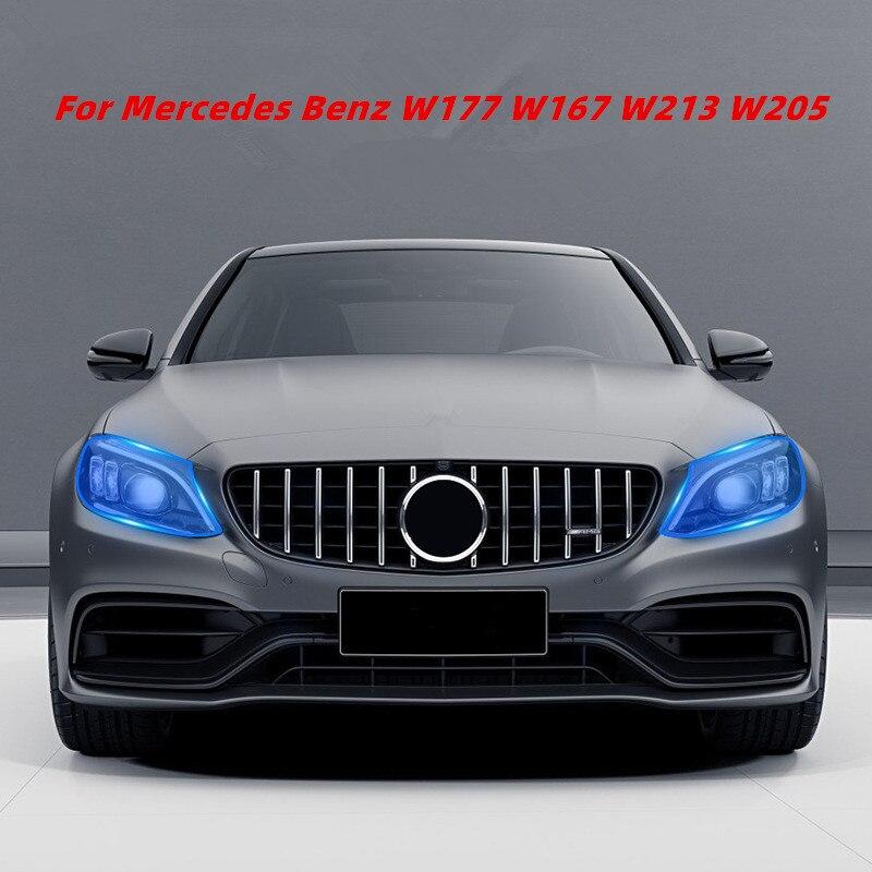 Mercedes Benz için bir C E G S GLC GLA CLA GLE GLS CLS sınıfı W177 W167 W213 W205 araba farlar TPU HD kararmış koruyucu Film