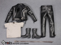 1/6 Scale AS044 Accessory Male Black Leather Suit Coat Clothes & Shoes Accessories Model For 12'' Action Figure Body