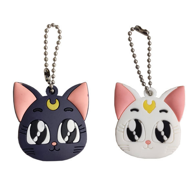 Japan Anime Sailor Moon Luna Lovely Cat Key Case Cosplay Silicone Cute Car Bag Pendant Key Case Keyring
