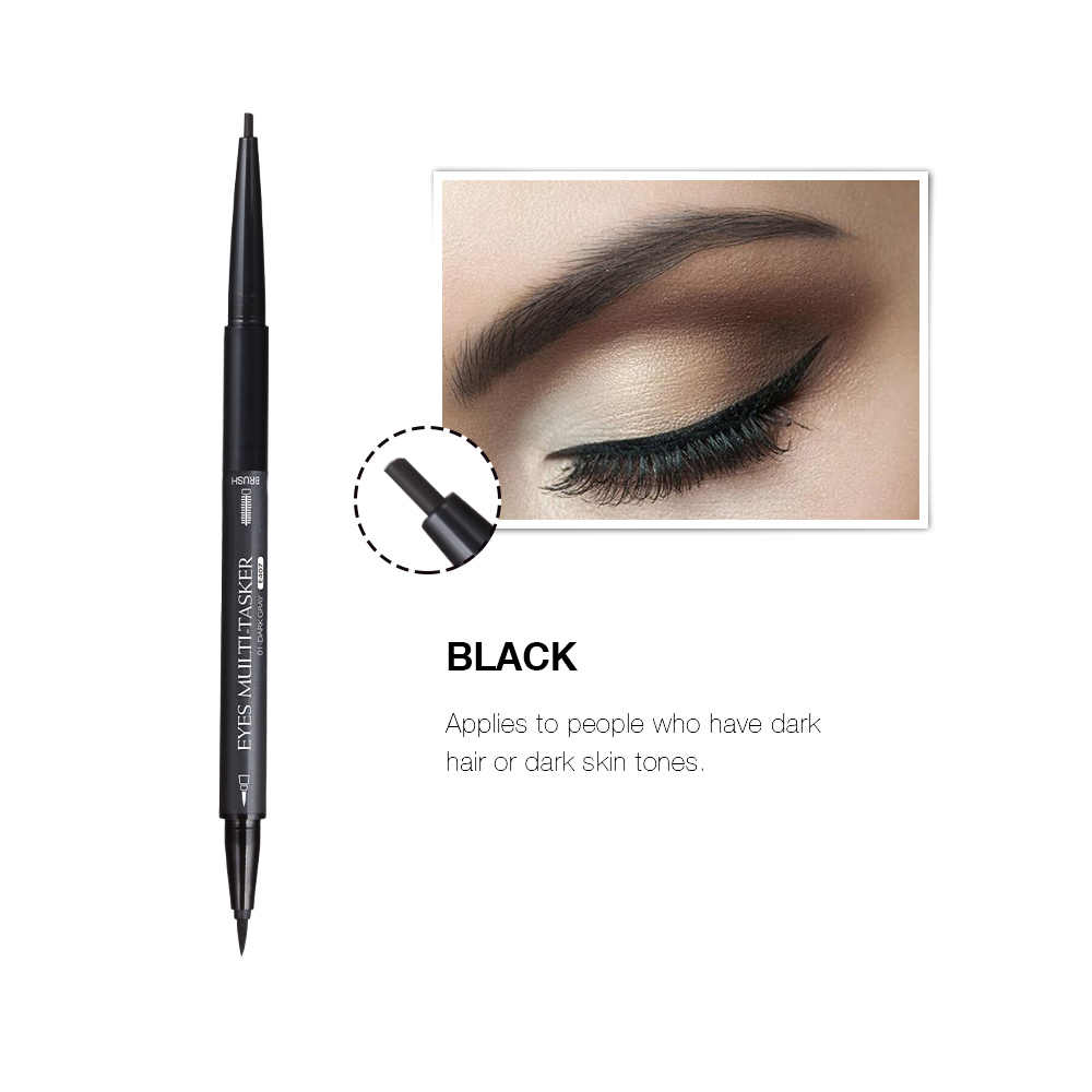 1Pc Doppia Headed Morbido Eyeliner Liquido Impermeabile Quick Dry 3D Nero Marrone Eyeliner Penna Anti-blooming Trucco Smooth strumento di TSLM2