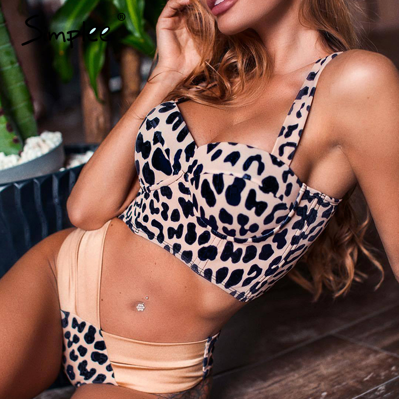 Simplee High Cut Leopard Print Bikini Micro Sexy Swimsuit Female Push Up Swimwear Women Bathing Suit Biquini Summer Beach Wear