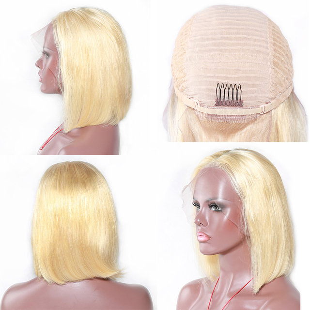 Perruque Bob Lace Front wig naturelle indienne Remy   Cheveux courts lisses, blond 1b/613, gris, 13x4, pre-plucked, pour femmes africaines