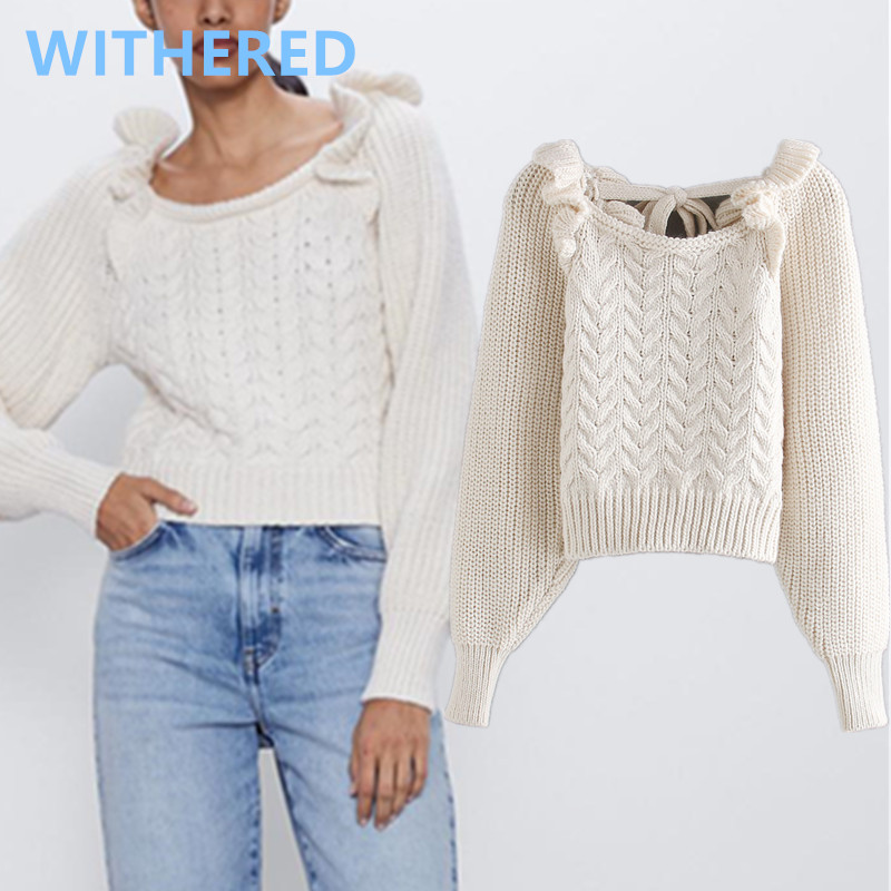 Withered England High Street Vintage Ruffles Bandage In Back Sexy Knitted Sweaters Women Pull Femme Sweaters Women Pullovers Top