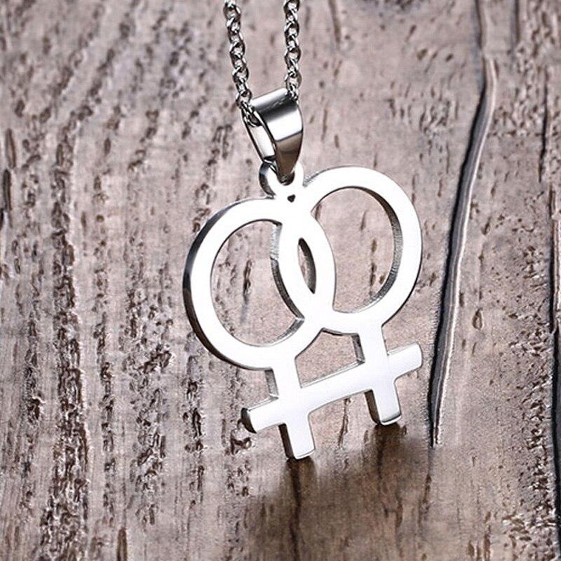 Лесбийские женские ожерелья с кулоном из нержавеющей стали 316L, Женские Ювелирные изделия Girlslove LES