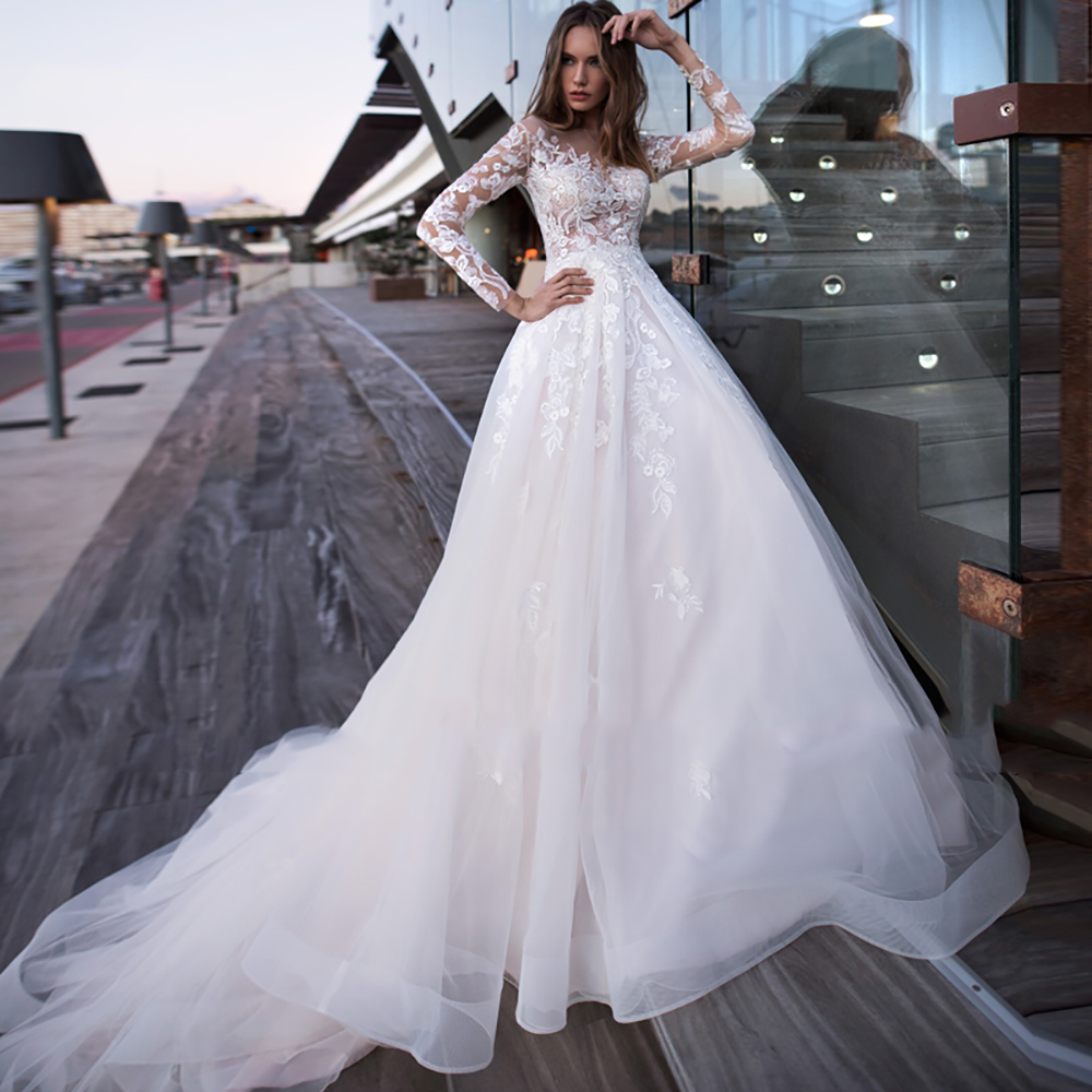 Eightree Appliques Lace A-Line Wedding Dress Illusion O Neck Long Sleeve Bride Gown Boho Princess Wedding Dresses 2020 Plus Size