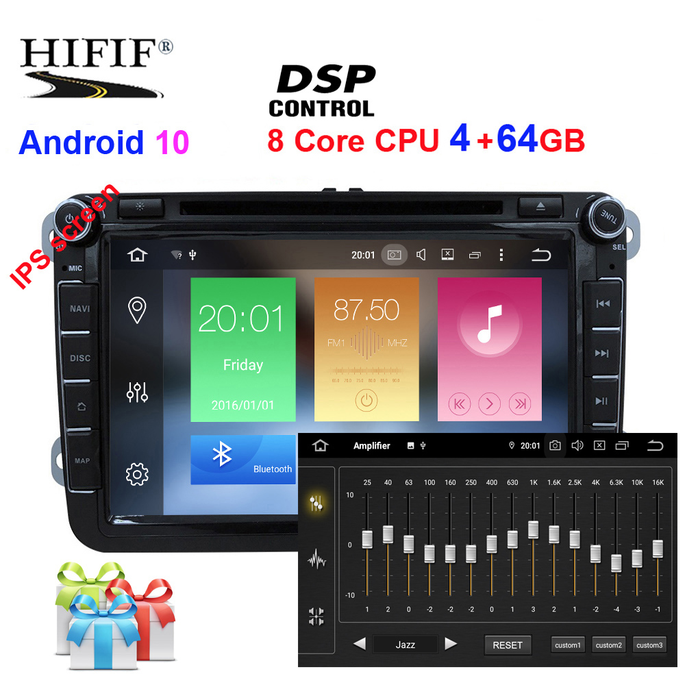DSP 2 din 8'' Octa core Android 10 Car DVD Player GPS for <font><b>VW</b></font> Passat CC Polo GOLF 5 6 <font><b>Touran</b></font> EOS T5 Sharan Jetta Tiguan Radio image