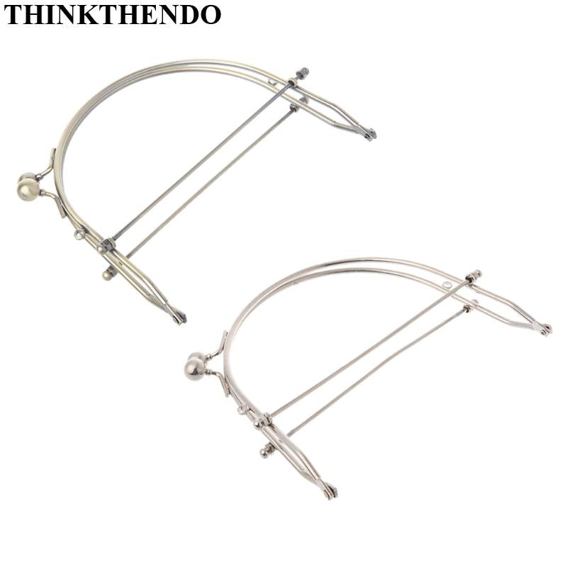 THINKTHENDO 1Pc Metal Half Round Frame Kiss Clasps Lock Purse Bag Handbag Handle Clutch