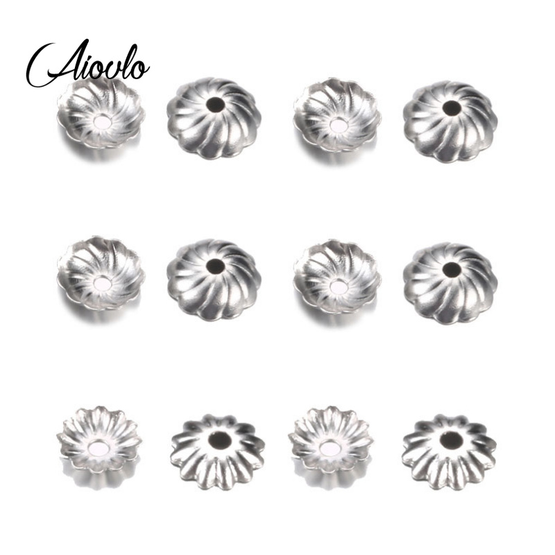 Aiovlo 50pcs/lot Stainless Steel Hollow Flower Bead Caps End Caps Accessories for DIY Jewelry Findings Making Supplies