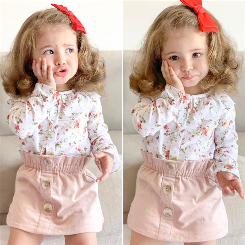CANIS casual 2PCS Toddler Baby clothing sets Girl Autumn Clothes ruffles Floral printed Tops Blouses and flower Skirts Outfits