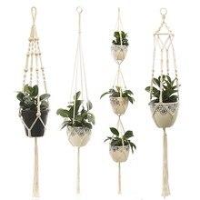 Panier suspendu pour plantes en macramé, fait à la main, pot de fleurs, support mural d'intérieur, 100%