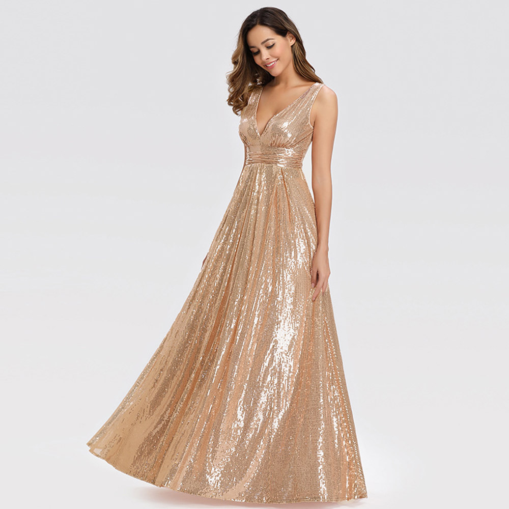 Golden Evening Dress V Neck A Line Sleeveless Floor Length Sequins Backless Plus Size Wedding Party Formal Gowns Evening Dresses