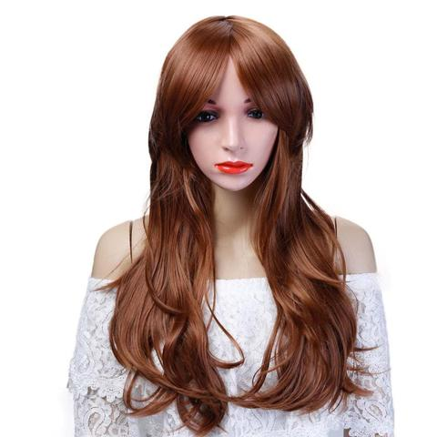 Long Pink Purple Orange Green White red Wigs For Black Women girls Wave Hair Female Peruca Curly Copper  colourful  party wig Lahore